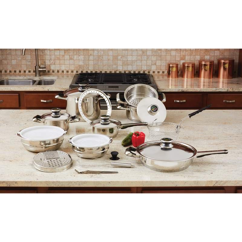 """Chef's Secret® 22pc 12-Element Waterless Super Set with High-Quality Stainless Steel and Extra Large 11"""" Frypan"""