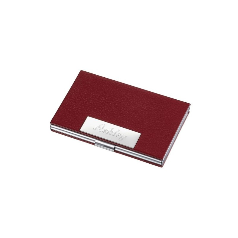 Ebalba.com: Samantha Red Leather Business Card Case for Ladies