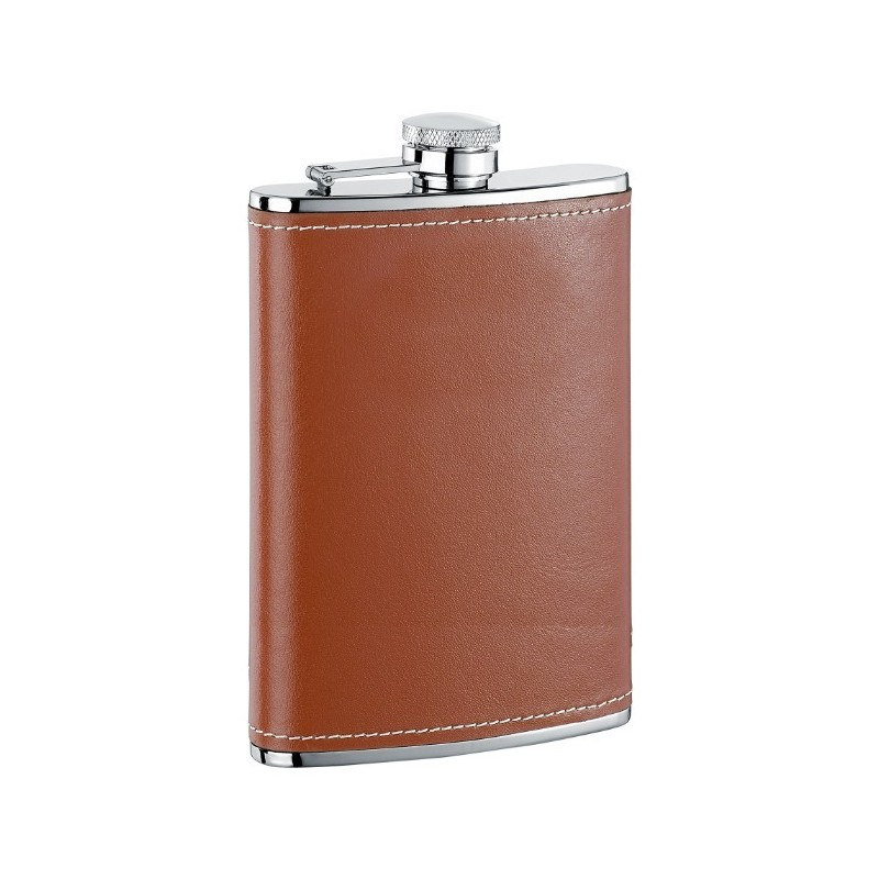 Black by Visol Visol Genuine Leather Stainless Steel Flask 18-Ounce